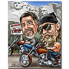 Harley Motorcycle Caricature