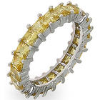 Sparkling Princess Cut Canary Cubic Zirconia Eternity Band