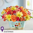 Large Sunshine and Kisses Bouquet in Floral Cachepot