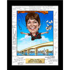 Custom Caricature Art in Signable Mat with Plaque