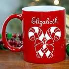 Candy Cane Engraved Red Mug