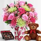 Deluxe All the Frills with Valentine's Vase, Bear, and Chocolates