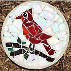 Cardinal Stained Glass Stepping Stone