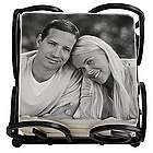 Personalized Tile Black and White Photo Coasters with Holder