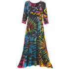 Tie Dye Maxi Dress with 3/4 Sleeves