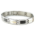 Mens Stainless Steel 18k Gold Accent Carbon Fiber Bracelet