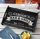 Personalized Bar & Grill Wood Serving Tray