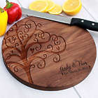 Personalized Tree of Love Wedding Round Wooden Cutting Board