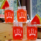 Engraved Family Name Mason Jar Set