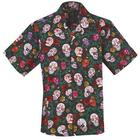Sugar Skulls Hawaiian Camp Shirt With Coconut Shell Buttons