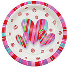 "7"" Valentine Hearts and Stripes Plates"