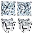 2.25 Carat Diamond Princess Cut Stud Earrings