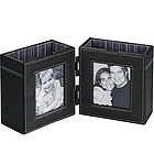 Double Leather Photo Frame Desktop Organizer