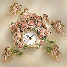 Cherubs with Pink Roses Wall Clock