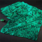 Holiday Green Silk Scarf and Clip Set