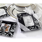 Elegant Black & White Glass Photo Coaster Set