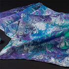 Peacock Blue Silk Scarf & Clip Set