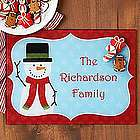 Personalized Cheerful Snowman Glass Cutting Board