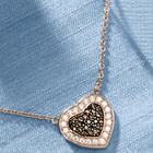 Chocolate and White Cubic Zirconia Heart Necklace