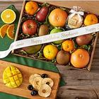 Organic Fresh & Dried Fruit Gift Box with Personalized Ribbon