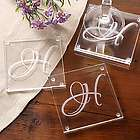 Engraved Initial Impressions Glass Coaster Set