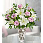 Purple Rose and Lily Bouquet in Crystal Vase