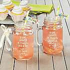 Personalized to the Happy Couple Mason Jar Glasses
