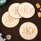 4 Classic Monogram Handcrafted Wood Coasters