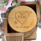 Tree Carving Heart Personalized Coaster Set