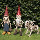 Man, Woman, and Dragon Skeleton Garden Gnomes