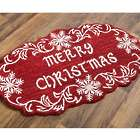 Merry Christmas Snowflake Hooked Wool Accent Rug