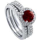 Sterling Silver and Simulated Ruby Halo Ring Set
