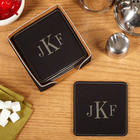 6 Classic Monogram Leather Drink Coasters with Holder