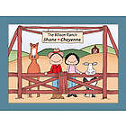 Personalized Rancher with Horse and Cow Cartoon