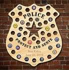 Police Badge Wooden Beer Cap Map