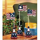 Wood Spindle American Flags Set