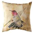 Hummingbird in Flight Watercolor Indoor/Outdoor Pillow