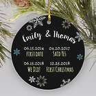 Personalized Couple's Dates Ceramic Christmas Ornament