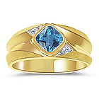 Diamond & Swiss Blue Topaz Mens Ring in 14K Yellow Gold