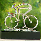 Sterling Cyclist Bronze Sculpture