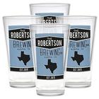 Set of 4 Personalized Home State Pub Glasses in Blue