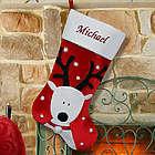 Embroidered Reindeer Christmas Stocking