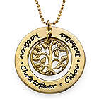 Personalized Family Tree Necklace in 18 Karat Gold Plating