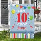 Personalized Confetti and Balloons Birthday Garden Flag