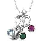 Birthstone Family Bond Charm Necklace in Sterling Silver