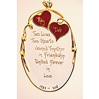 Personalized Ruby Sweethearts on Beveled Glass Oval