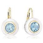 14k Two Tone Gold Round Bezel Blue Topaz Drop Earrings