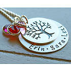 Mother's Personalized Family Tree Hand Stamped Necklace