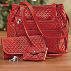 Red Quilted Handbag Set