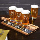 Acacia Beer Serving Tray with Personalized Oakmont Pint Glasses
